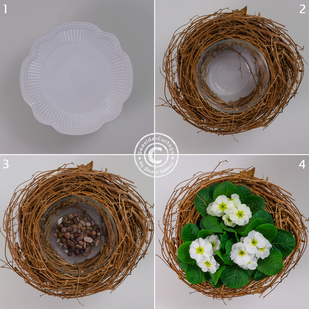 Schritt für Schritt Anleitung weiße Primeln im Nest aus Hopfenrebe