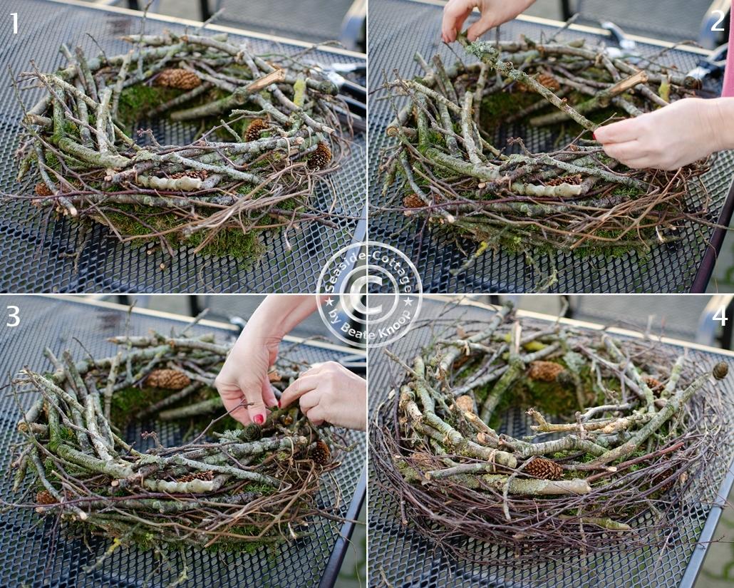 Schritt für Schritt Anleitung für einen winterlichen Kranz aus Ästen und Zweigen