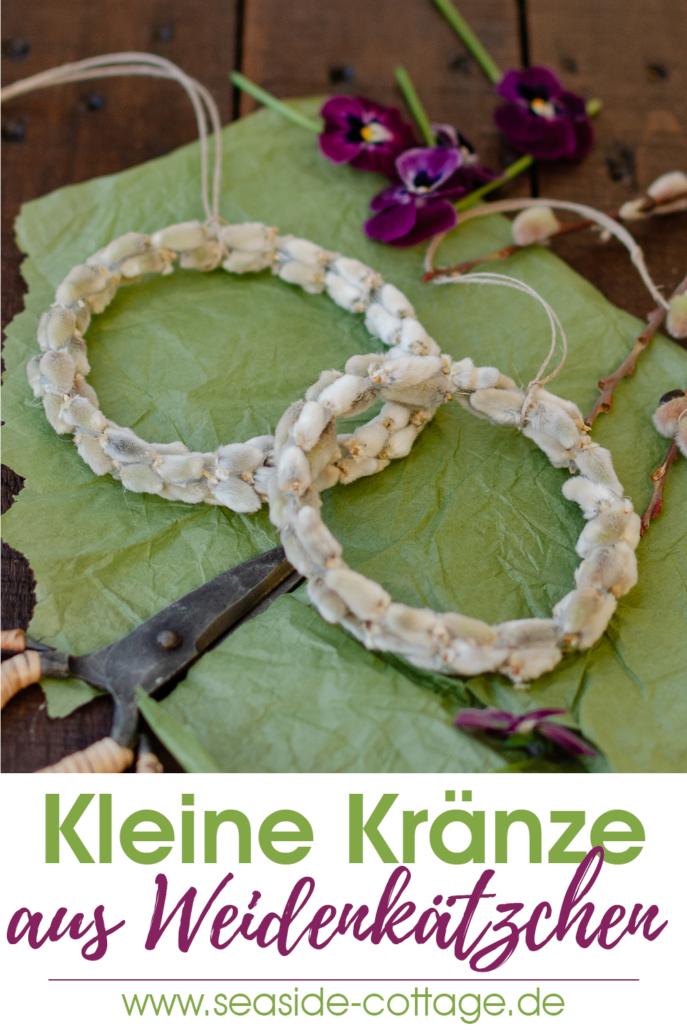 DIY Kränze aus Weidenkätzchen als Serviettenring Geschenkanhänger Osterdeko