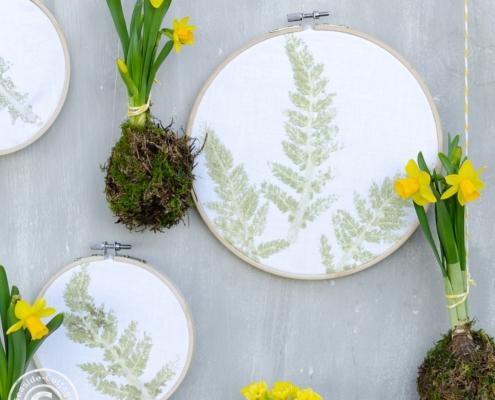 Naturdeko DIY Pflanzenbilder im Stickrahmen