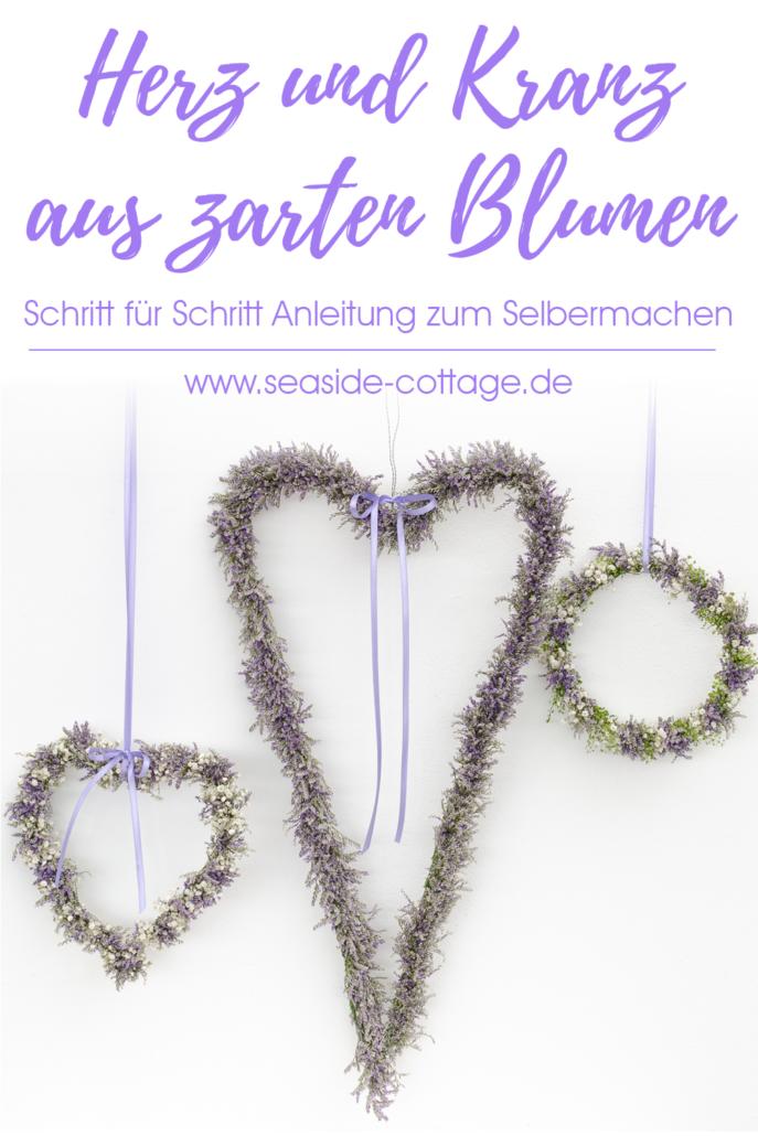 Anleitung Herz und Kranz aus Trockenblumen Pinterest