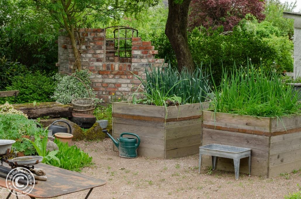 Gartengestaltung mit Hochbeeten und alter Backsteinmauer