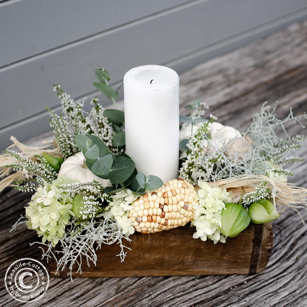 Workshop Eutin Herbstgesteck mit Kerze und Minikürbis