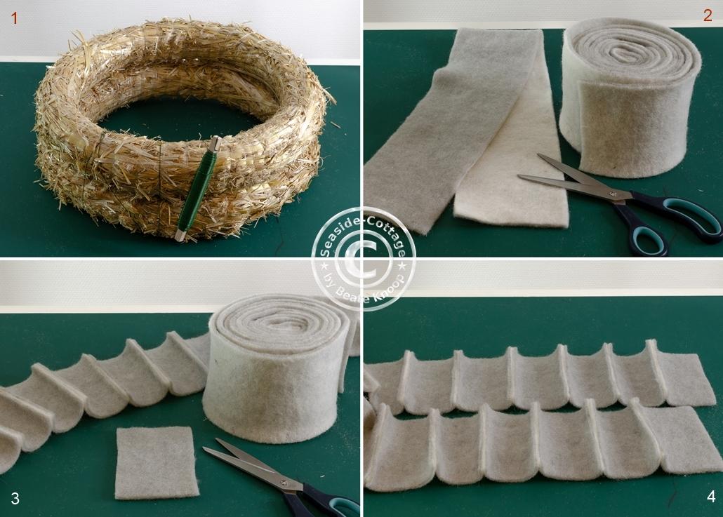 Schritt für Schritt Anleitung Eukalyptus Adventskranz mit Filz