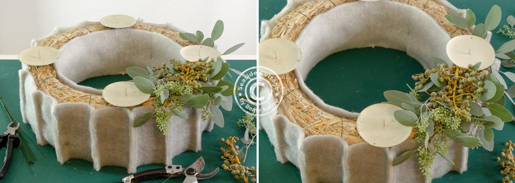 Anleitung Adventskranz mit Eukalyptus und Filz
