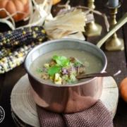 Herbstzeit Suppenzeit Suppe mit Esskastanien und Pilzen