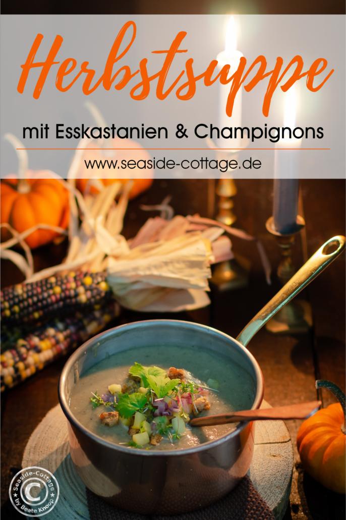 Pinterest Pin Herbstuppe mit Esskastanien