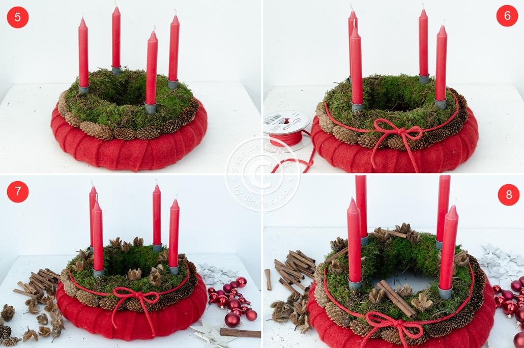 DIY Anleitung natürlicher Adventskranz aus Moos