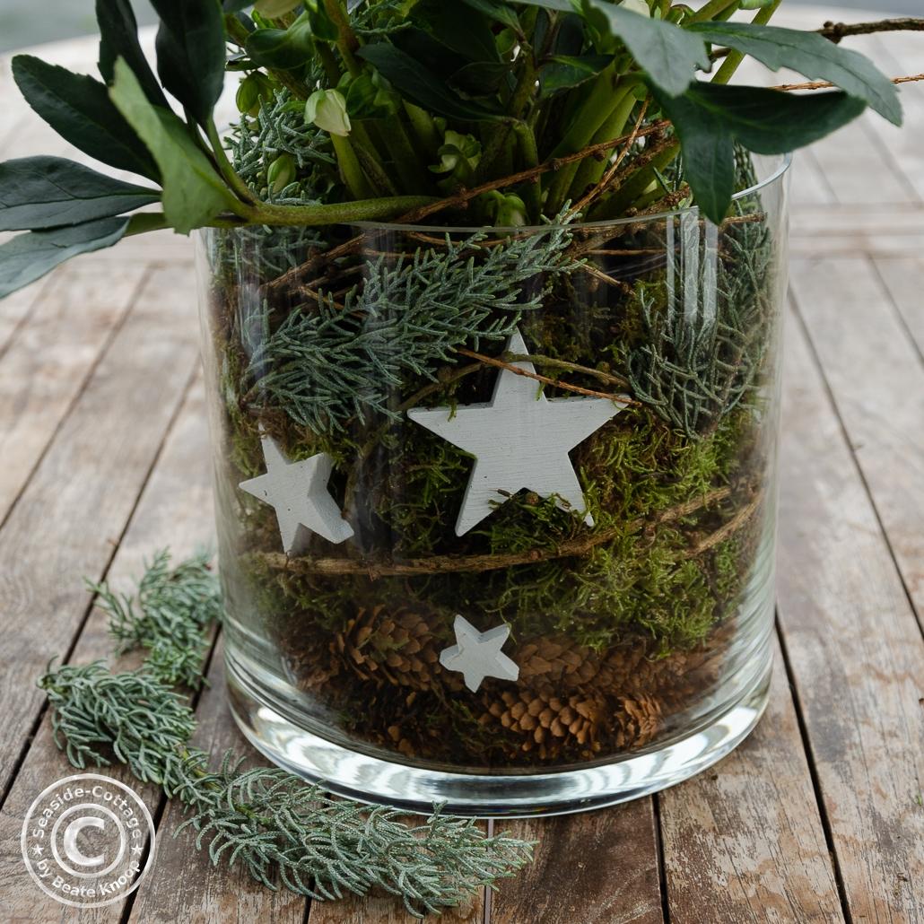 Glasvase weihnachtlich dekorieren mit Moos