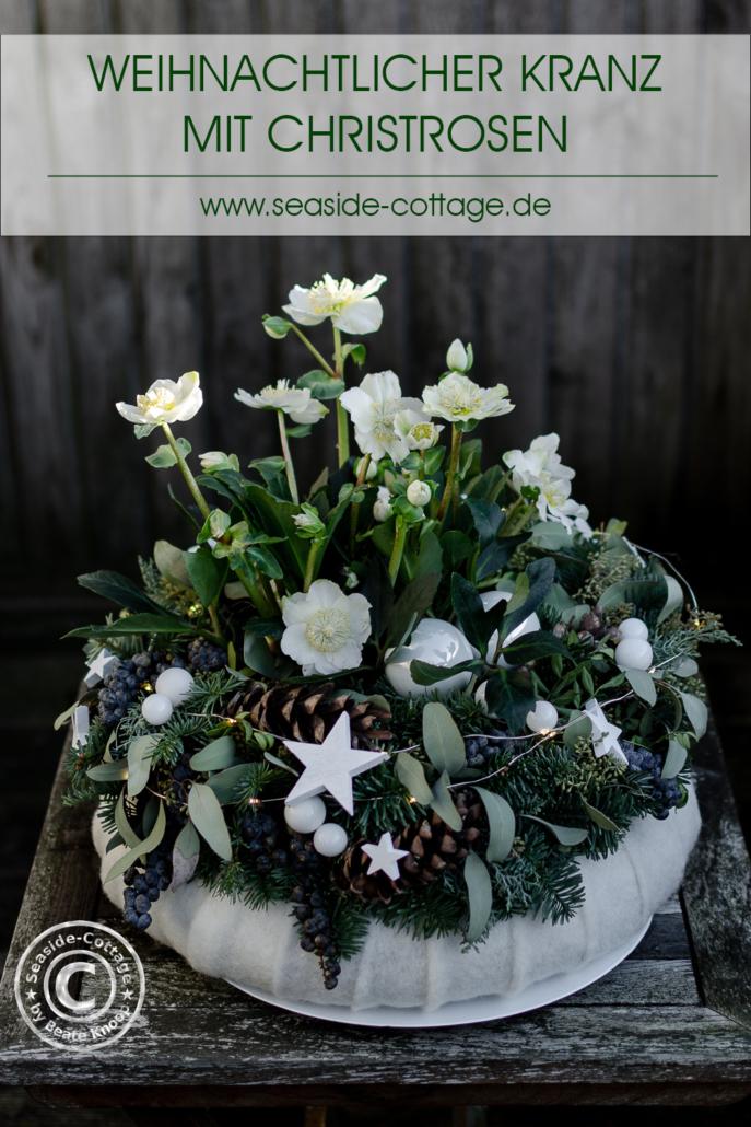 Pinterest Pin Weihnachtlicher Kranz mit Christrosen