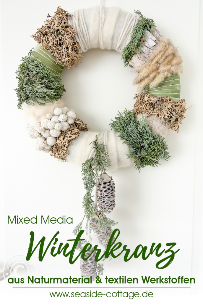 Pinterest Pin Mixed Media Winterkranz