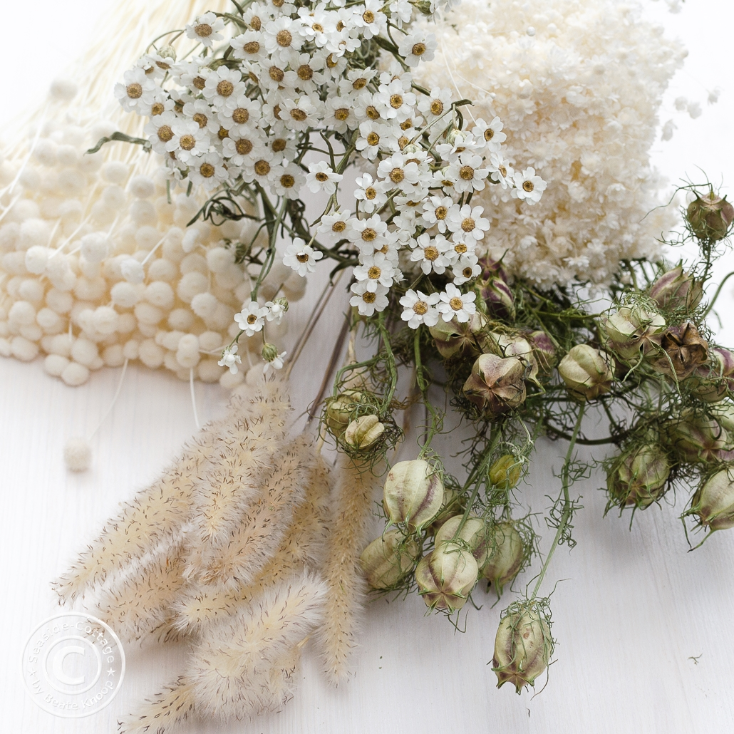 Anleitung Kranz mit Trockenblumen, getrocknetes Naturmaterial wie Eukalyptusblätter, Gräser, Jungfer im Grünen-Samenkapseln und kleine Blüten
