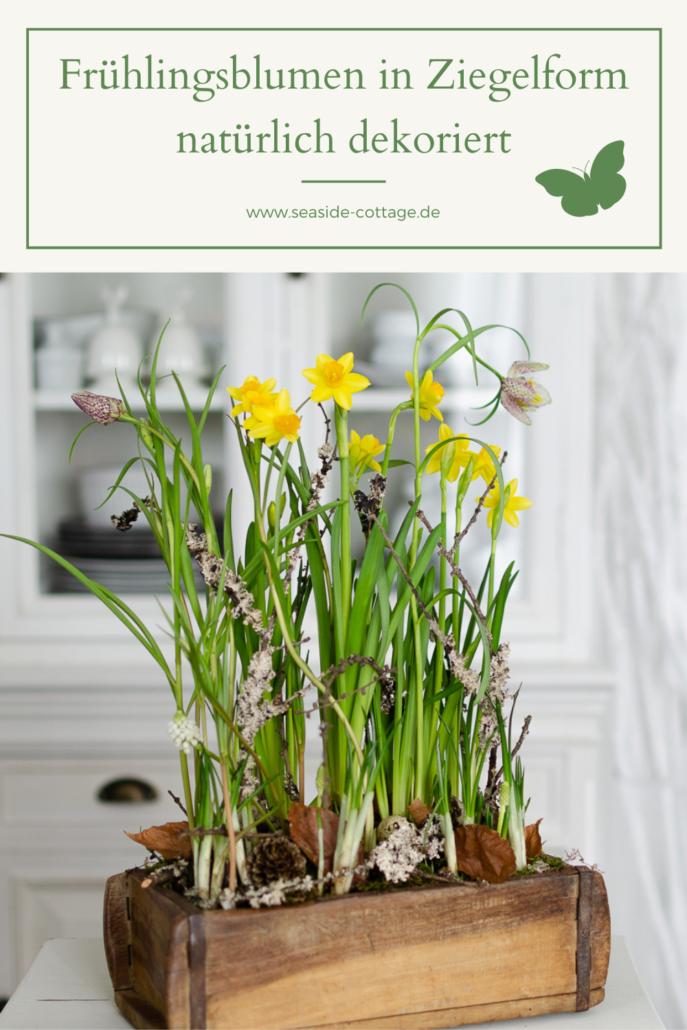 Pinterest Pi9n Frühlingsblumen in Ziegelform natürlich dekoriert