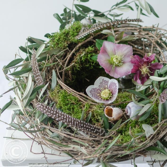Drei verschiedene Sorten Lenzrosen in einem Nest aus Rebe, dekoriert mit Olivenzweigen, Moos, Federn und Schneckenhäusern