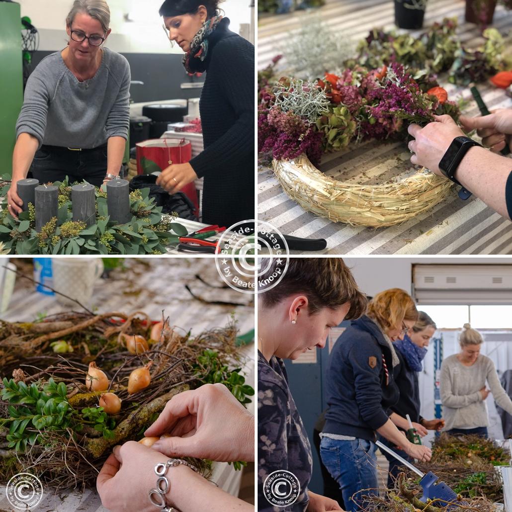 Collage aus Bildern vergangener Floristik-Workshops zum Thema Kranzbinden