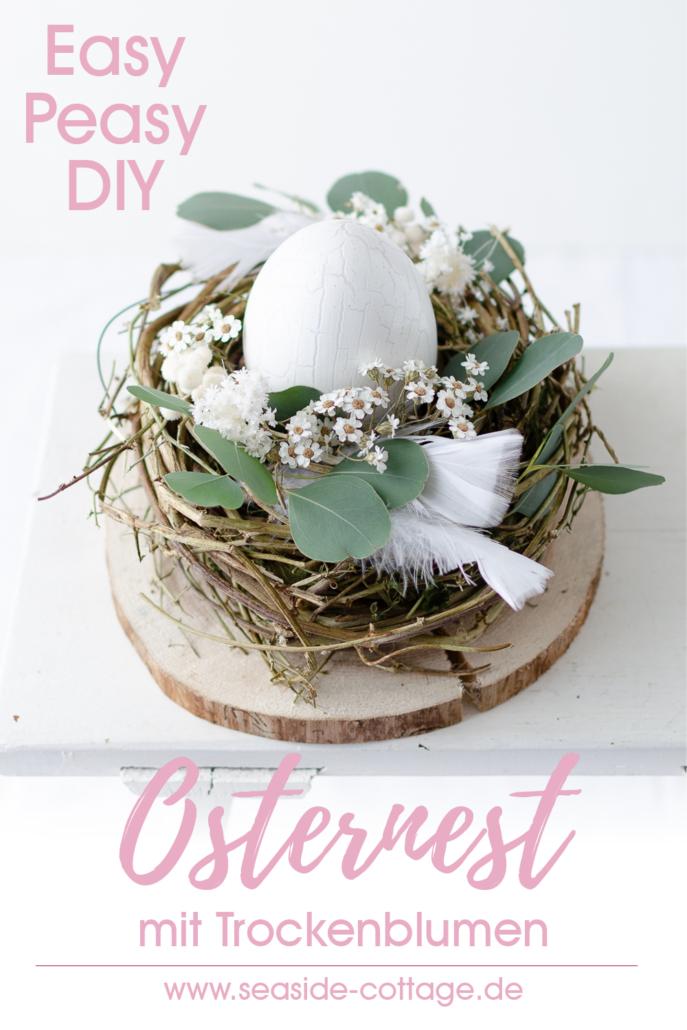 Pinterest Pin Osternest mit Trockenblumen