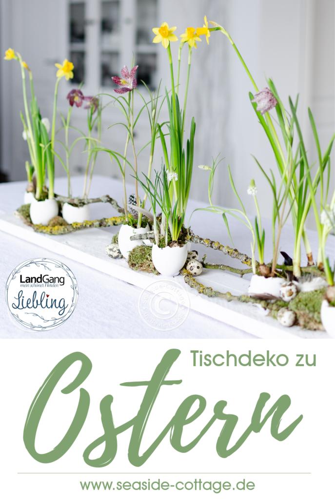 pinterest Pin Tischdeko zu Ostern Landgang Magazin Beitrag