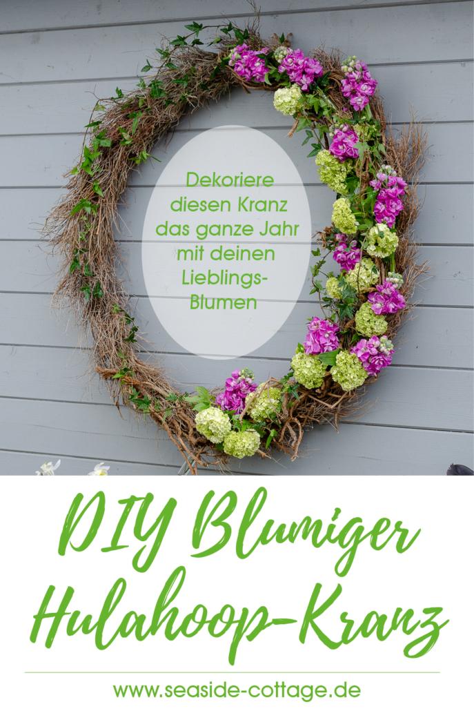 Pinterest Pin Blumiger Hulahoop-Kranz