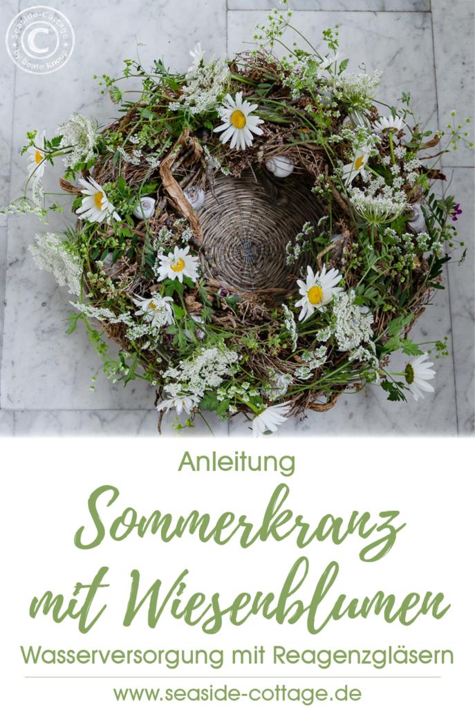 Pinterest Pin Sommerkranz mit Wiesenblumen