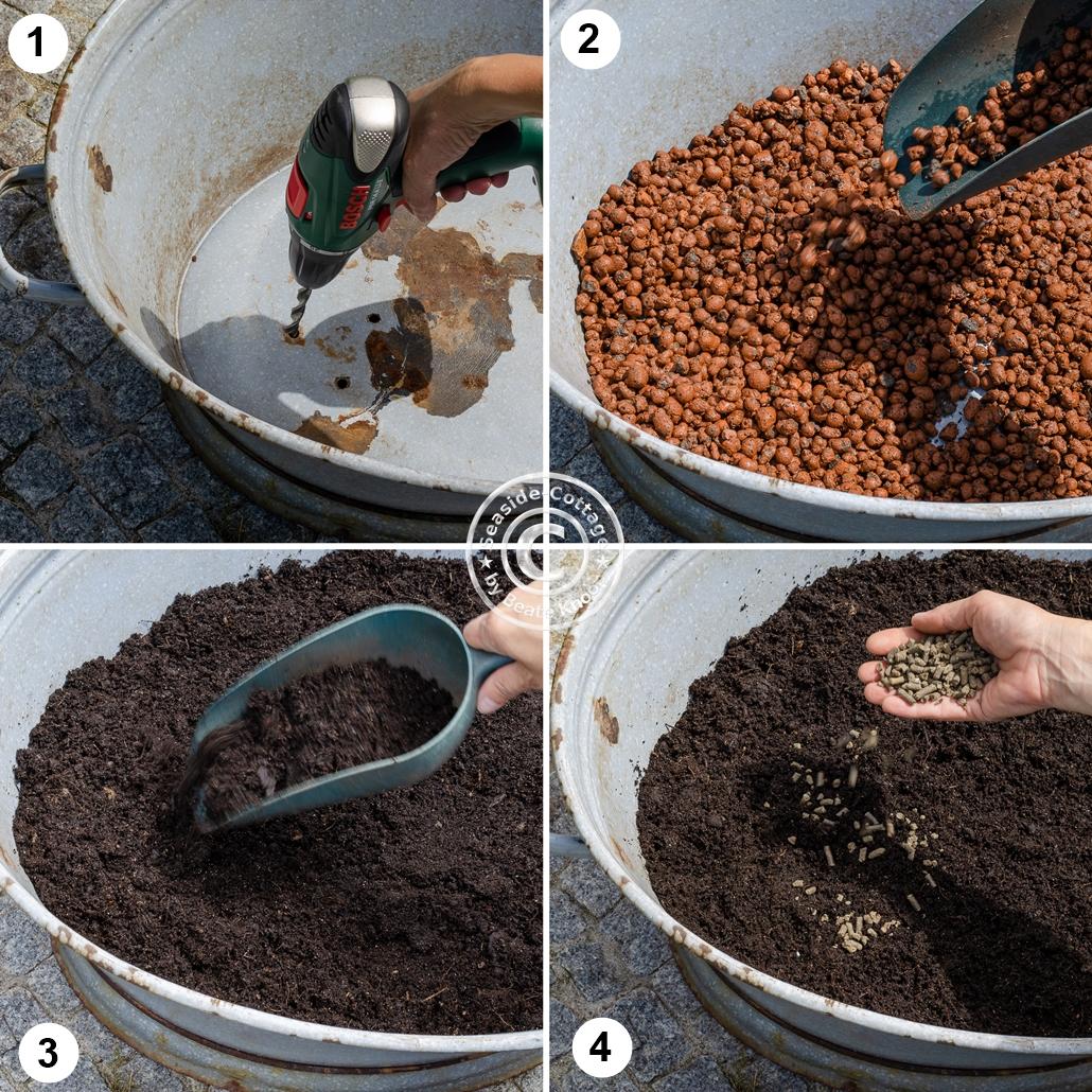Bebilderte Anleitung in 4 Schritten zur Bepflanzung einer Zinkwanne