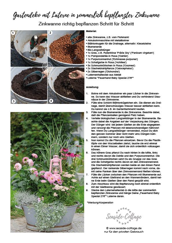 Linkbild für den PDF-Download Anleitung Gartendeko mit Laterne in sommerlich bepflanzter Zinkwanne
