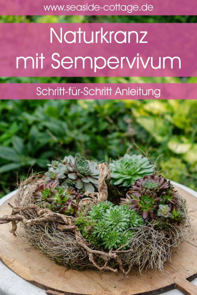 Pinterest Pin Anleitung Naturkranz mit Sempervivum