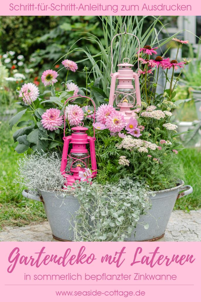 Pinterest-Pinbild für den Blogbeitrag Gartendeko mit Laterne in sommerlich bepflanzter Zinkwanne