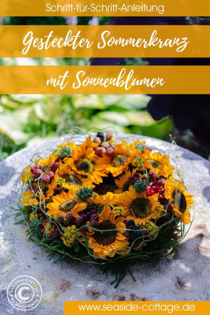 Pinterest Pin für Anleitung gesteckter Sommerkranz mit Sonnenblumen