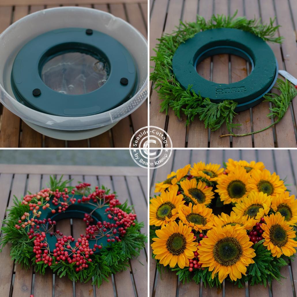 Anleitung zum Stecken eines Blumenkranzes mit Sonnenblumen in 4 Bildern