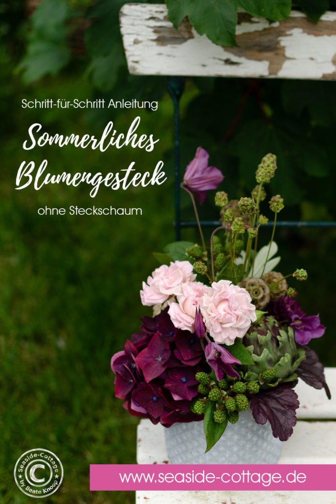 Pinterest Pin sommerliches Blumengestecl ohne Steckschaum