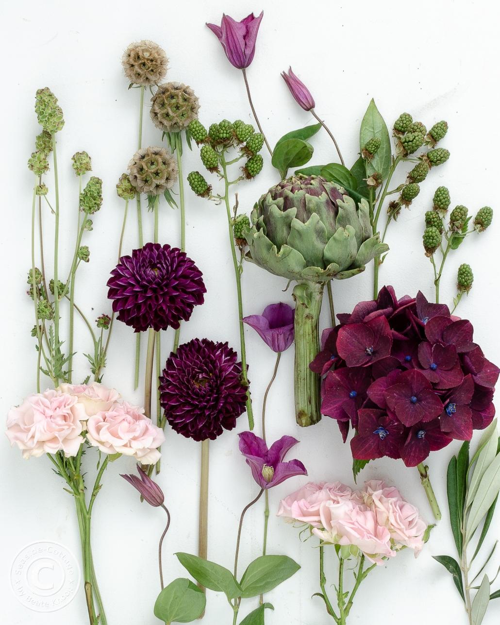 Flatlay mit Sommerblumen: Wiesenknopf, Dahlien, Rosen, Artischocke, Hortensie, Waldrebe
