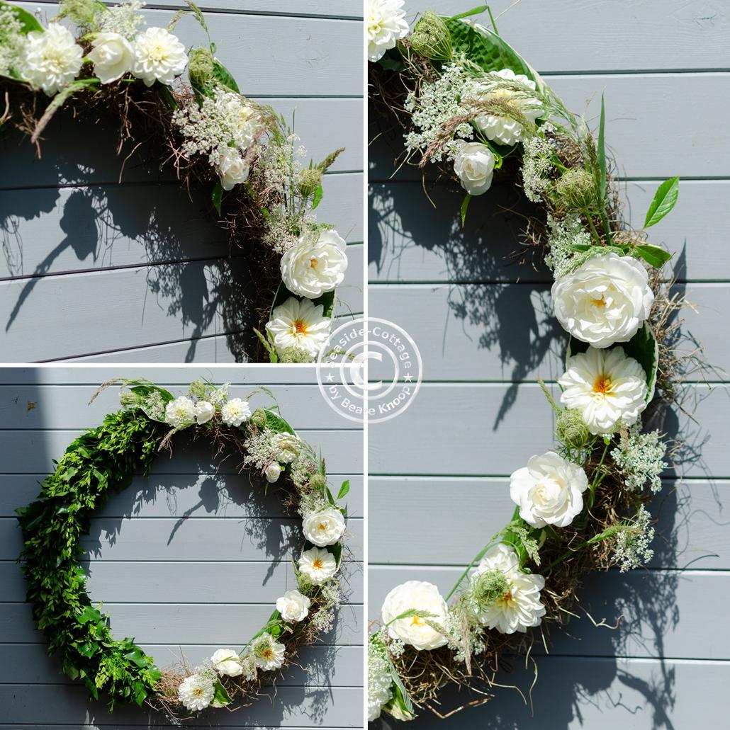 Collage mit drei Ansichten Hulahoop Sommerkranz mit weißen Blüten