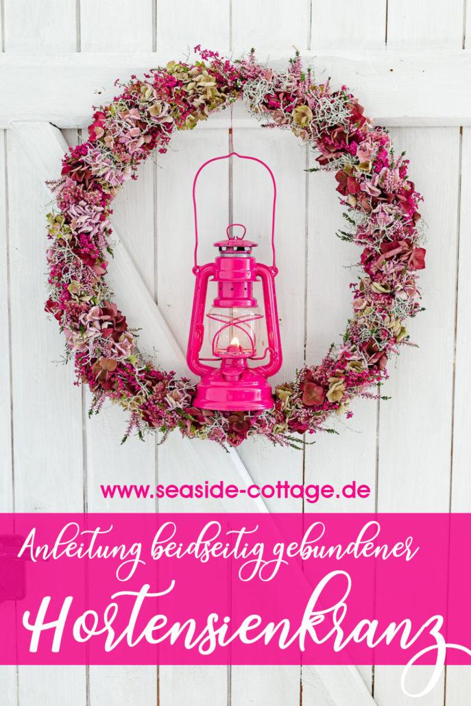 Pinterest Pin Anleitung beidseitig gebundener Hortensienkranz