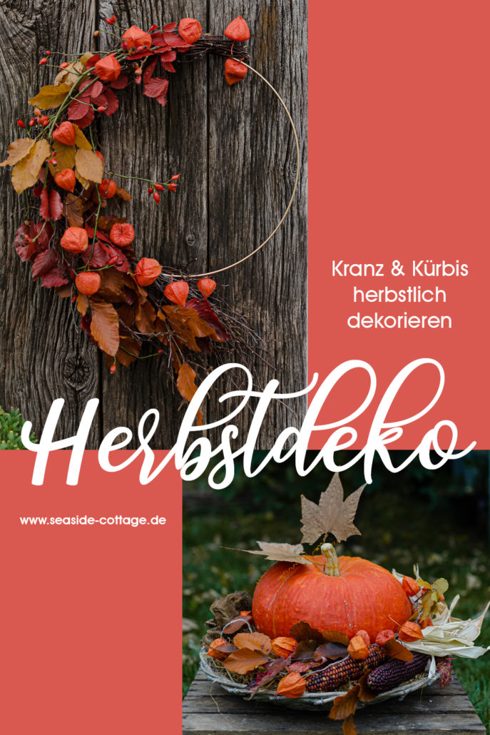 Pinterest Pin Herbstdeko in leuchtenden Farben