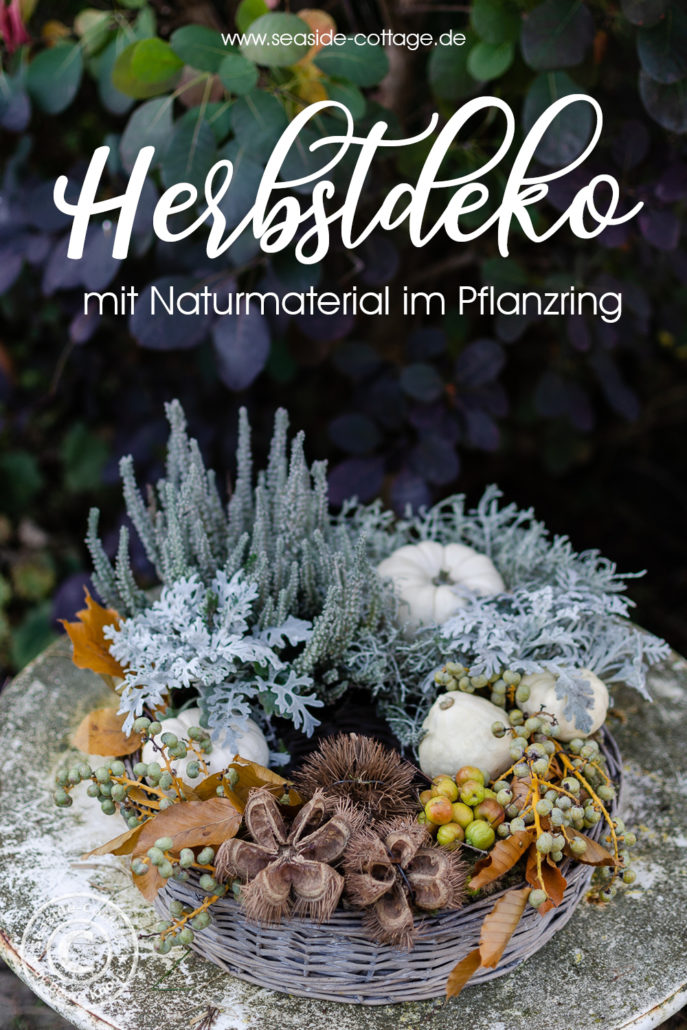 Pinterest Pin für einen herbstlich dekorierten Pflanzring