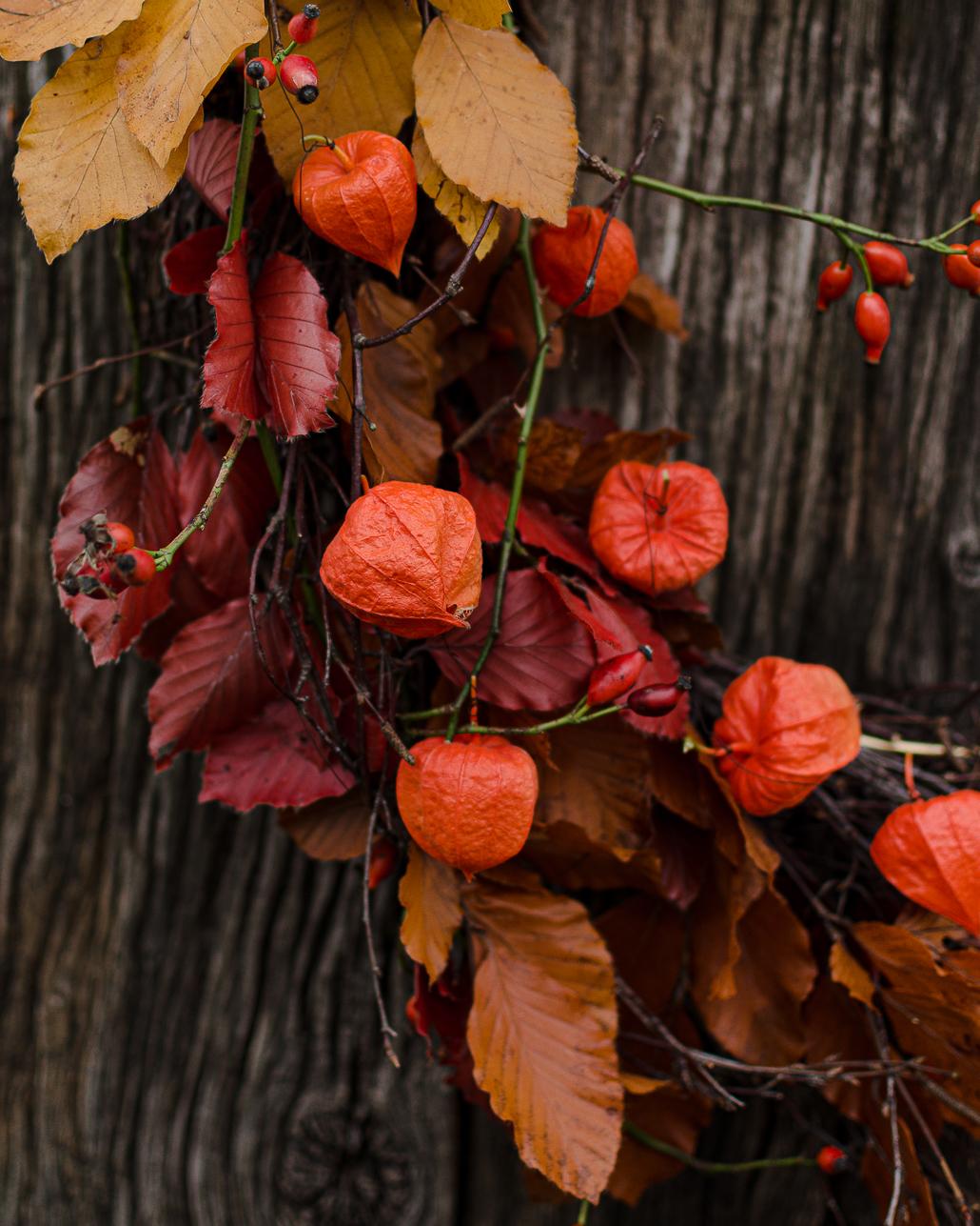 Nahaufnahme Herbstkranz mit buntem Laub und Physalis