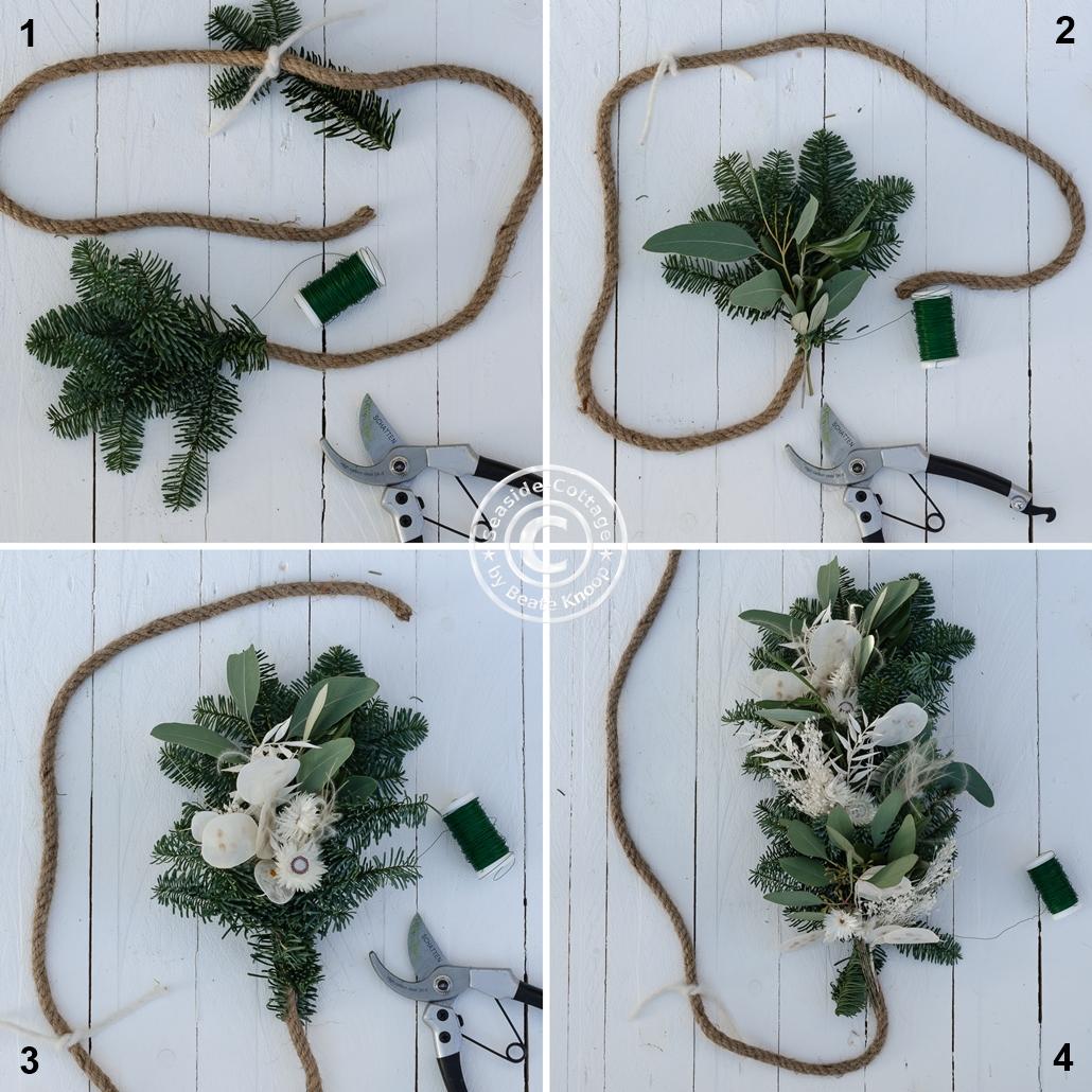 Schritt-für-Schritt Anleitung Girlande mit Trockenblumen