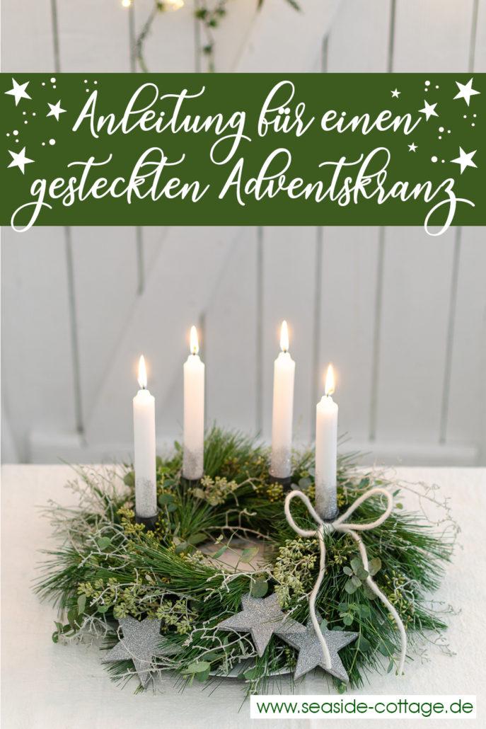 Pinterest Pin Anleitung gesteckter Adventskranz