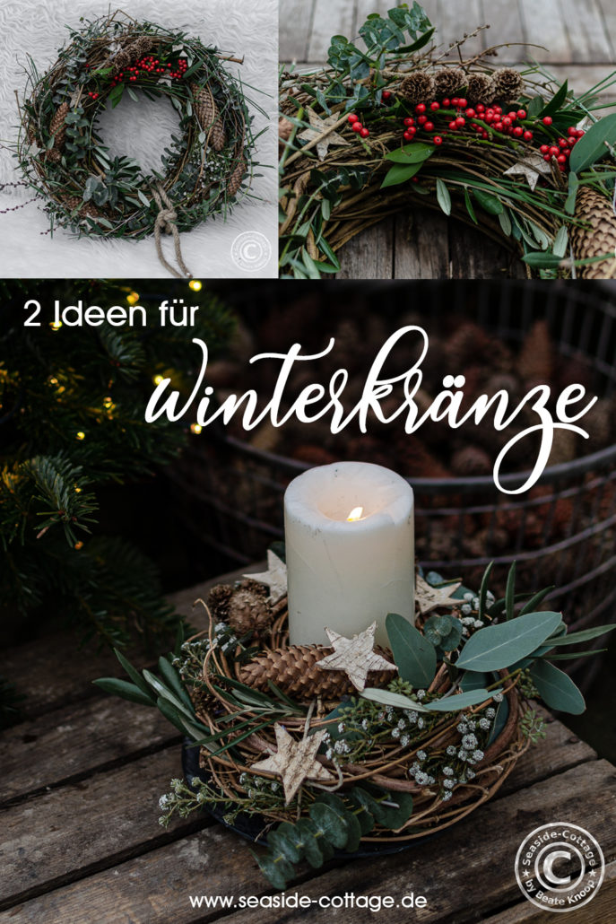 Pinterest Pin 2 Ideen für Winterkränze