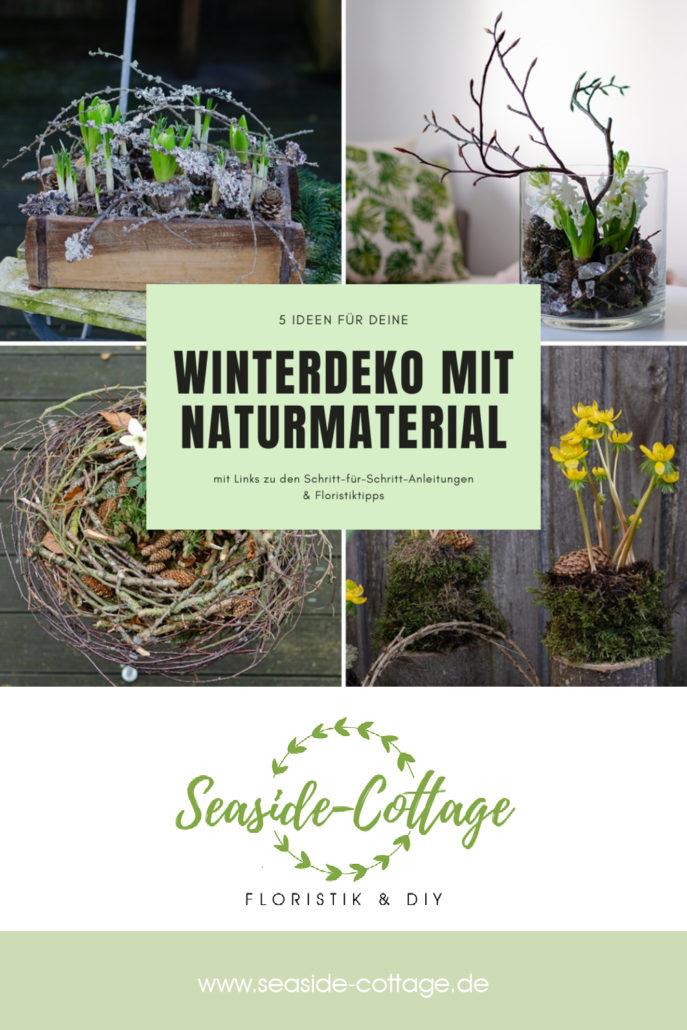 Pinterest Pin für Winterdeko mit Naturmaterial