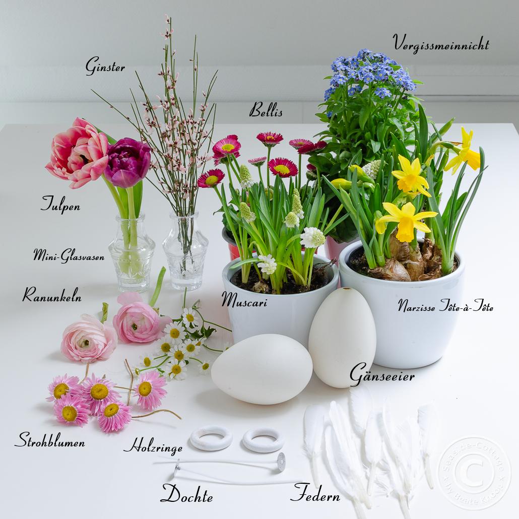 Materialliste für Tischdeko mit Frühlingsblumen
