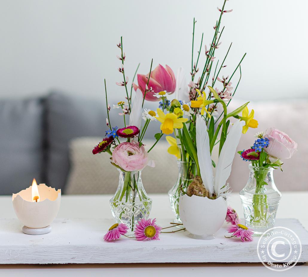 Osterdeko mit Blumen Anleitung zum Selbermachen