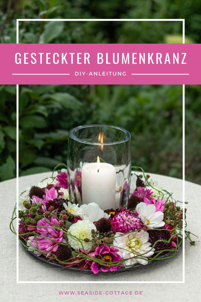 Pinterest Pin Anleitung gesteckter Blumenkranz mit FDahlien, Zinnien und Hortensie